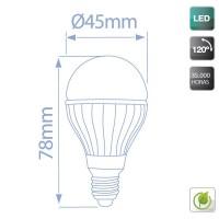 Scatola da 10 lampadine LED 320lm sferiche in ceramica 4W 3000K E27 Luce calda