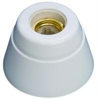 Portalampada E27 bianco in resina e interno di porcellana con base retta