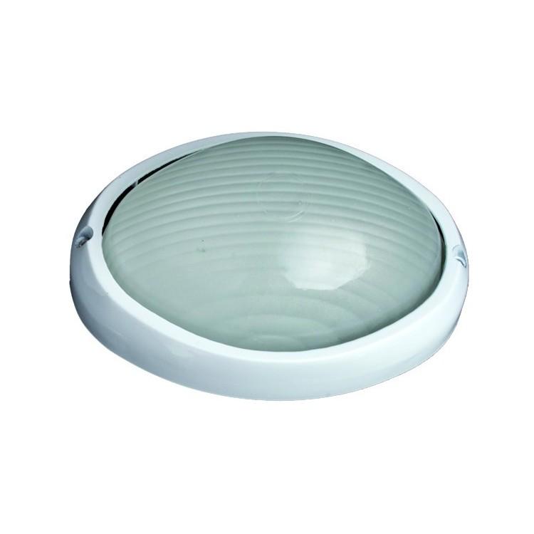 Lampada applique da parete esteriore semi ovale in alluminio E27 IP44 color bianco