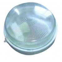 Applicare una plastica rotonda con vetro isolante, E27 mateial e diffusore.Max 100W. 255 mm 230V. Bianco
