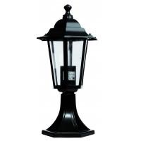 Lampada da muro E27 IP44 da giardino in alluminio con 6 lati color nero