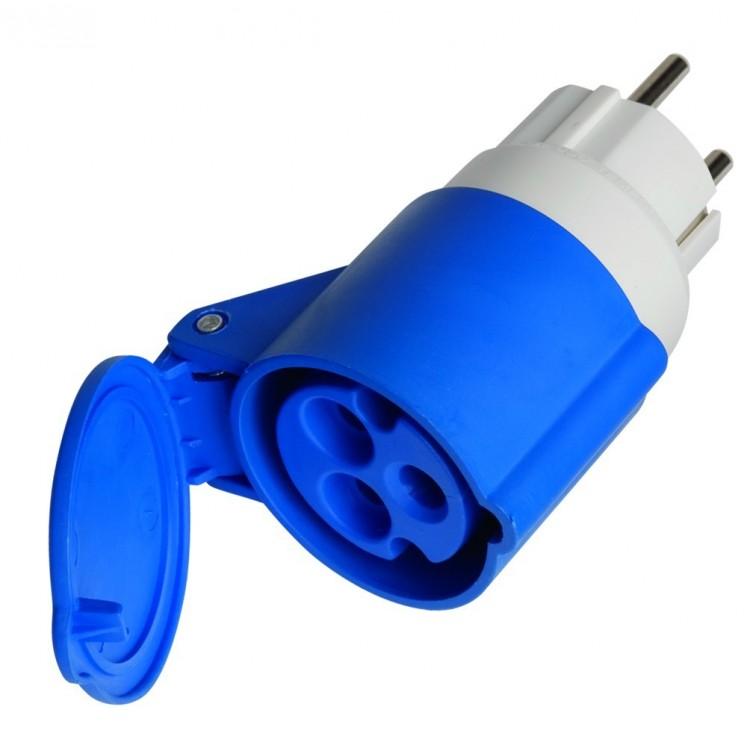 Adattatore spina shucko Ø4,8mm 16A 250V a spina volante cetac IP44 - 16A 3P (2P + t) 250V