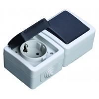 Commutatore + presa Schuko IP44 impermeabile uso esterno, 16A, 250V 50 Hz