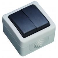 Interruttore doppio impermeabile IP44 da esterno, 10A, 250V 50Hz