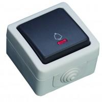 Interruttore pulsante con LED luminoso, impermeabile per uso esterno. IP44, 10A, 250V-50Hz.