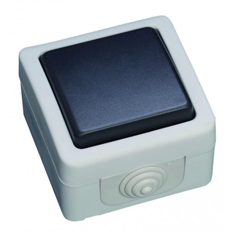 Interruttore pulsante a tenuta stagna per uso esterno. IP44, 10A, 250V-50Hz