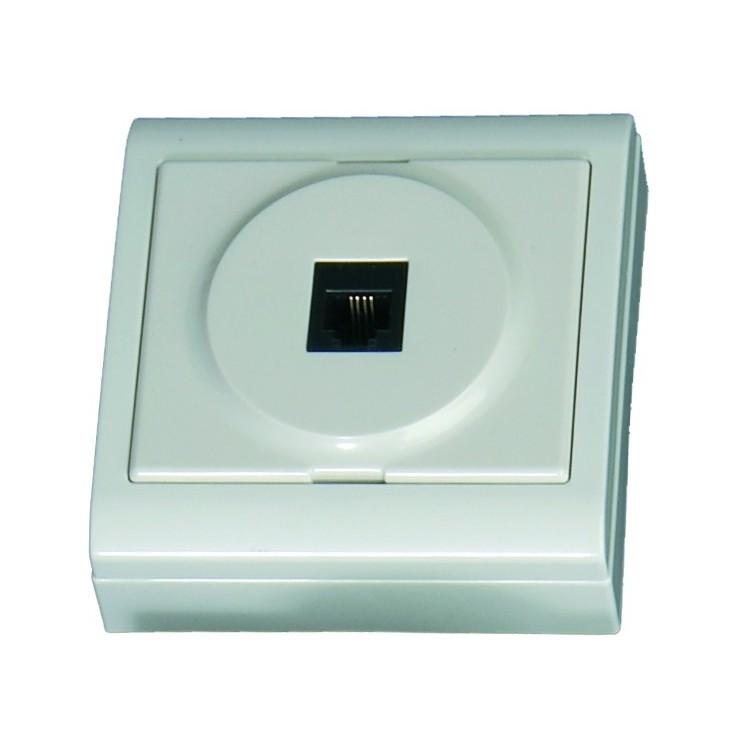 Presa per telefono (6p4c) da superficie bianco - 80x80mm