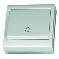 Interruttore pulsante da superficie con simbolo campana bianco, 80x80mm. 10A, 250V