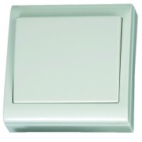 Commutatore da parete a superficie bianco, 80x80mm. 10A, 250V