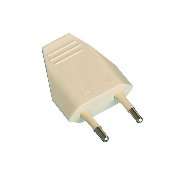 Spina bipolare 4 mm. 10A - 250V, bianco