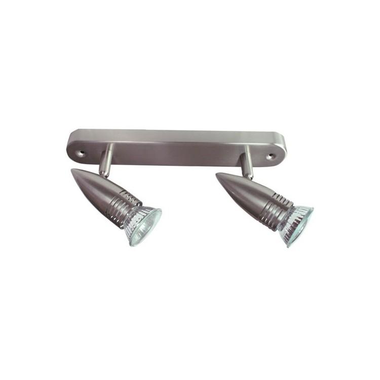 Plafoniera da soffitto lineare con 2 faretti alogeni diretto a corrente 220V - 50Hz 2x50W GU10
