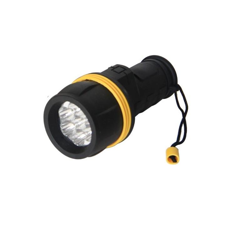 Torcia in gomma, resiste all'acqua 3 LED, nero - Blister.