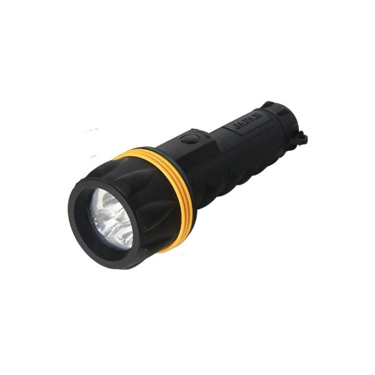 Torcia in gomma, resiste all'acqua 3 LED, nero - Blister. 2 Batterie R20