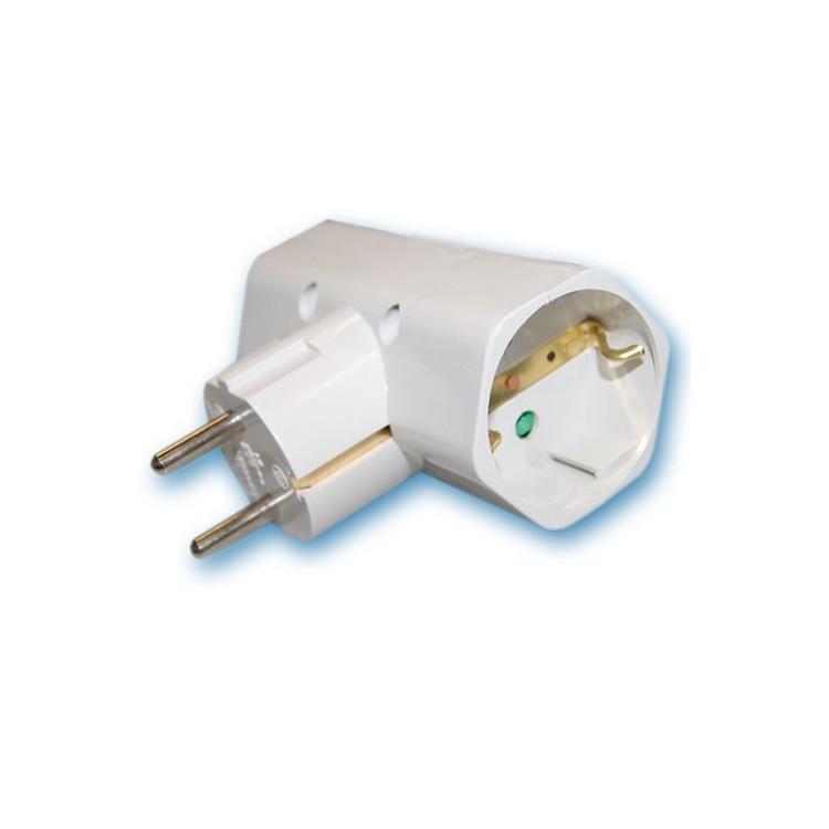 Adattatore doppio sucko 2 p + lato TT. 10/16A, policarbonato. 250V. max 3500w.
