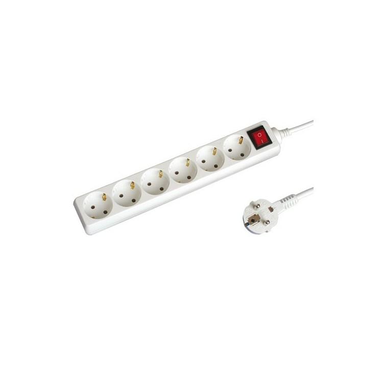 Presa multiple bianca 2P + schuko 6U con cavo e interruttore 1.5mt Max. 2200W
