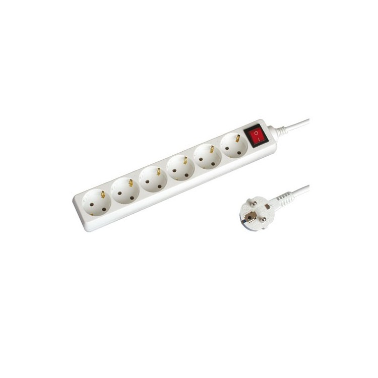 Presa multiple bianca 2P + schuko 6U con cavo e interruttore 3mt Max. 3500W