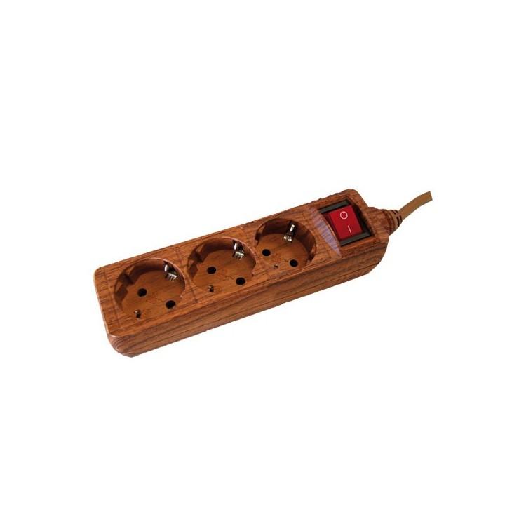 Presa multiple effetto legno 3U con cavo e interruttore 1,5 mt max. 3500W