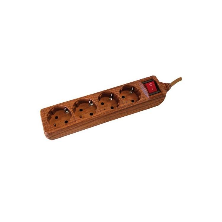 Presa multiple effetto legno 4U con cavo e interruttore 1,5 mt max. 3500W