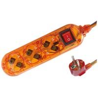 Presa multiple transparente arancione 3U con cavo e interruttore 1,5 mt  max. 3500W