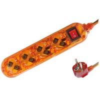 Presa multiple transparente arancione 4U con cavo e interruttore 1,5 mt  max. 3500W