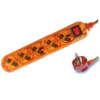 Presa multiple trasparente arancione 5U con cavo e interruttore 1,5 mt  max. 3500W