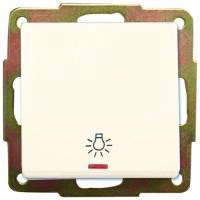 Interruttore pulsante con LED e simbolo luce a incasso, 56x56mm.10A, 250V. bianco