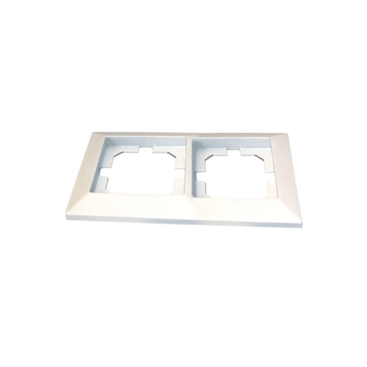 Placca per presa a incasso 2 posti / fori bianco 82x154cm.