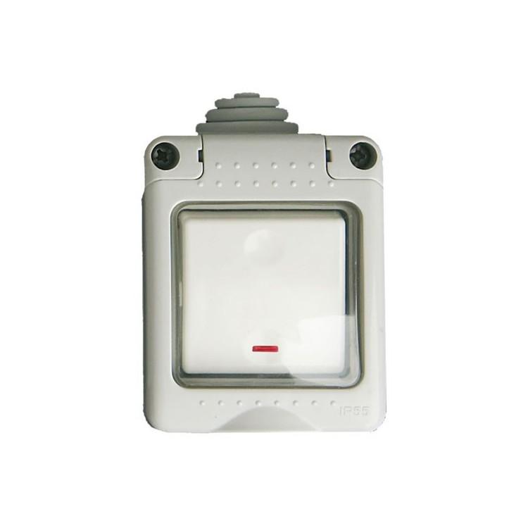 Interruttore pulsante con Led, impermeabile IP55 da esterno. 10A 250V 50Hz