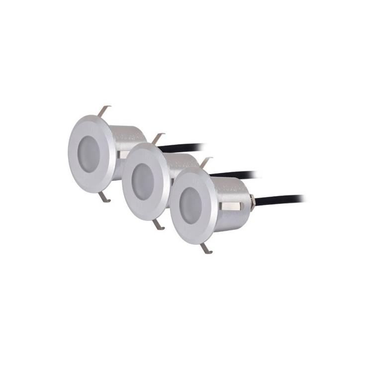 Set di 3 luci da 6 LED da incasso a parete 0,6W - IP54 - color nichel opaco, 40x57mm