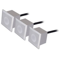 Set di 3 luci quadrate da 6 LED da incasso a parete 0,6W - IP54 - color nichel opaco, 40x40x57mm.