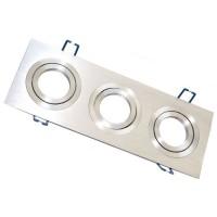 Triplo anello da incasso rettangolare liscio in alluminio, 90 x 256mm.