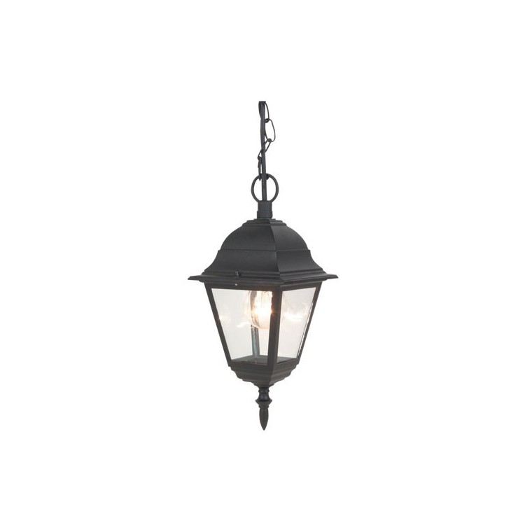 Lanterna da parete per giardino esteriore 4 lati in alluminio E27 60W 230V IP44 color nero
