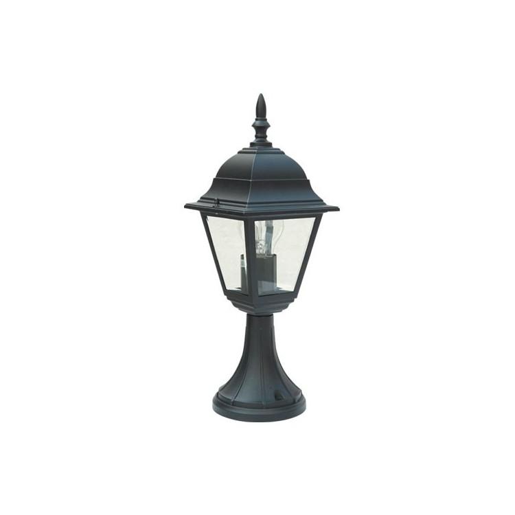 Lampada da muro per giardino esteriore 4 lati in alluminio tipo lanterna E27, 60W. 230V IP44 color nero
