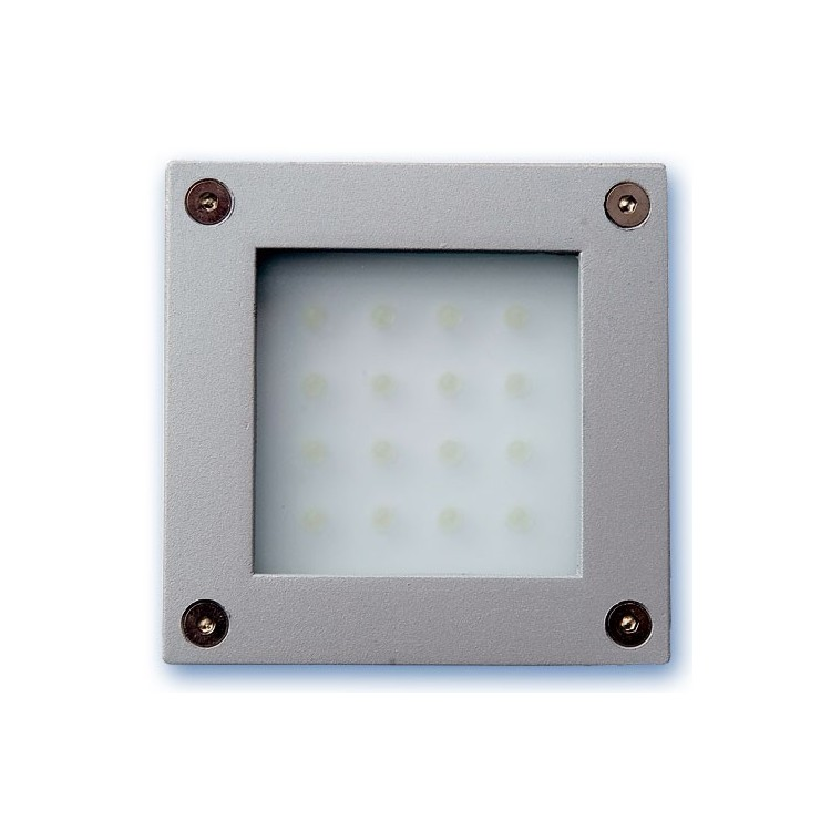 Luce quadrata da superficie a parete o pavimento con 16 LED color bianco 1,6W 12V IP54. Uso esterno, nichel satinato