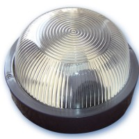 Applicare una plastica rotonda con vetro isolante, E27 mateial e diffusore.Max 60W. 230V IP44, nero.