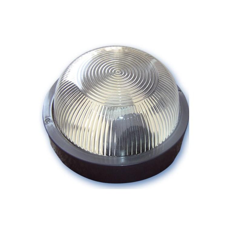 Lampada applique rotonda da parete esteriore in plastica, IP44 E27 color nero