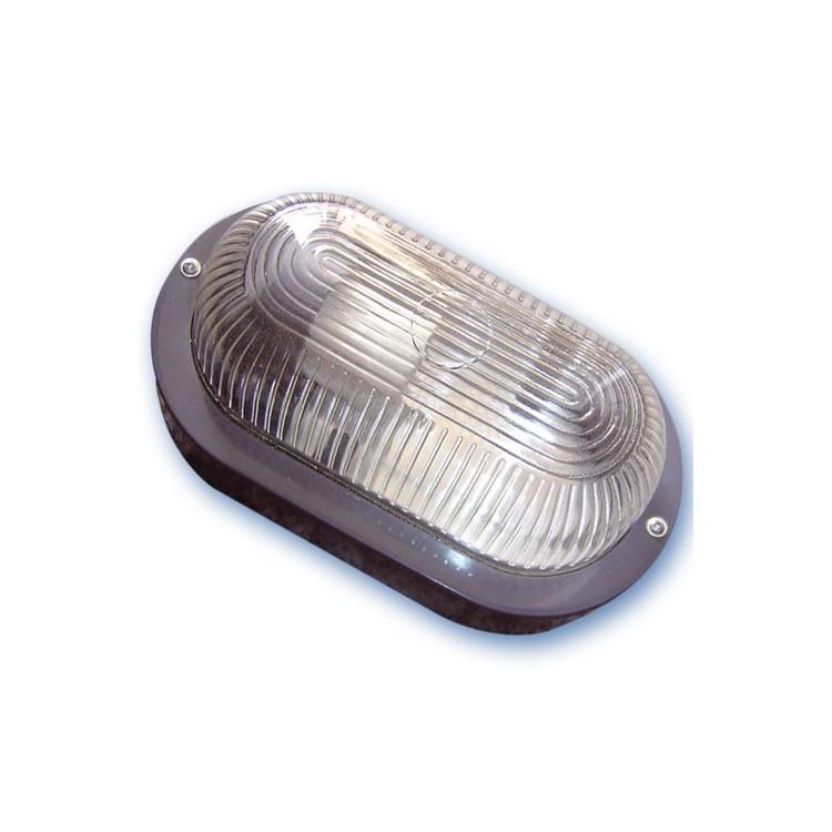 Lampada applique ovale da parete esteriore in plastica, IP44 E27 color nero
