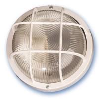 Lampada applique rotonda da parete esteriore in plastica e diffusore in vetro, IP44 E27 color nero