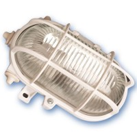 Applicare in plastica ovale con vetro isolante, E27 mateial e diffusore.Max 60W 230V IP44, nero.