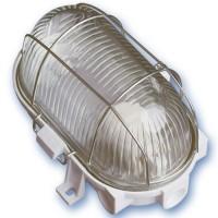 Applicare in plastica ovale con vetro isolante, E27 mateial e diffusore.Max 60W 230V IP44, bianco.