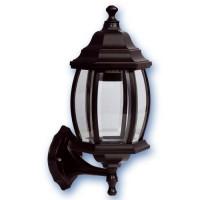 Lampada applique E27 IP44 da parete esteriore e giardino modello alessandria 6 lati in acciaio inox  color nero