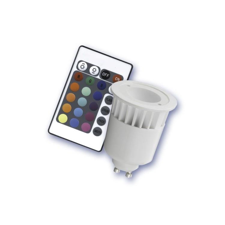 Lampadina 1 LED GU10 5W dicroica / RGB Multicolore con telecomando