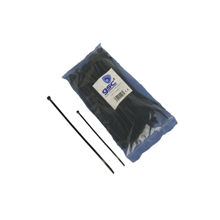 Borsa da 25 fascette 200mm x 4.8mm 100% nylon color nero