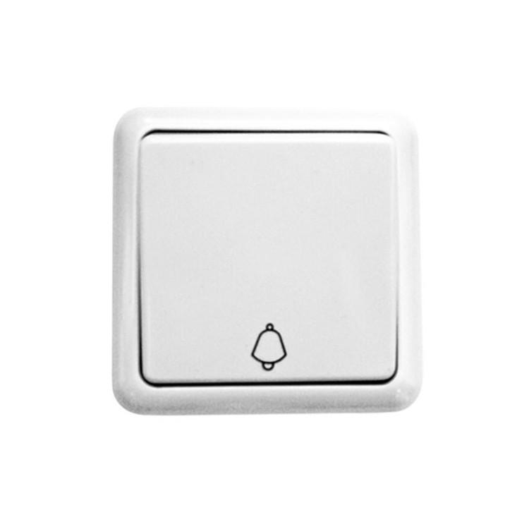 Interruttore pulsante da parete a superficie con simbolo campana, bianco