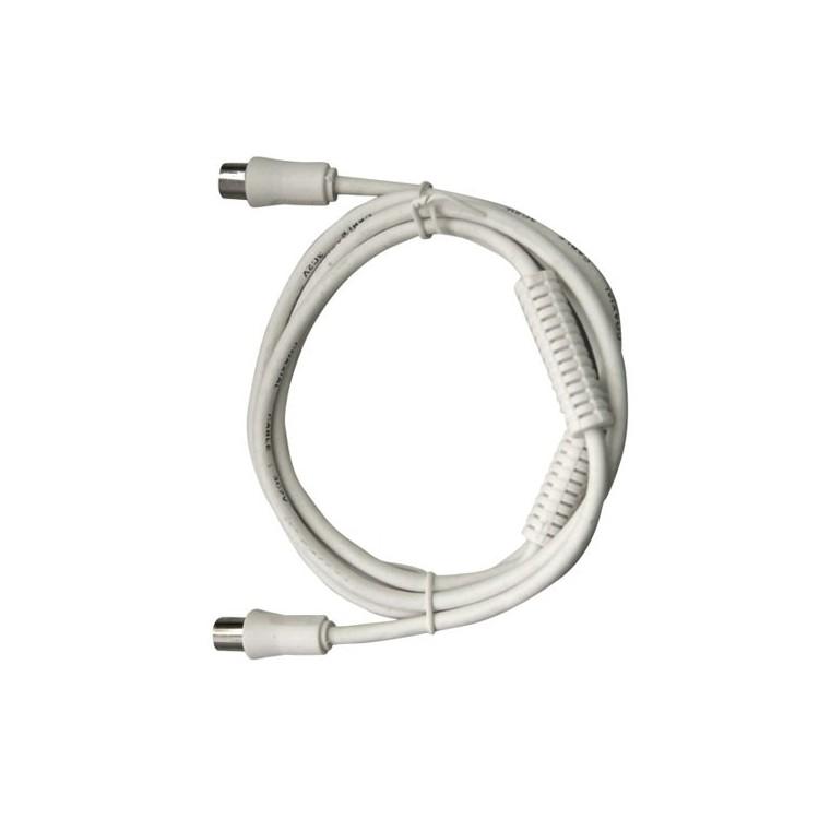 Prolunga 2.5 metri cavo coassiale TV da Ø9.5mm, con filtro, maschio a femmina, bianco