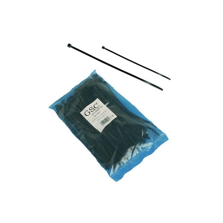 Borsa da 100 fascette 200mm x 4.8mm 100% nylon color nero