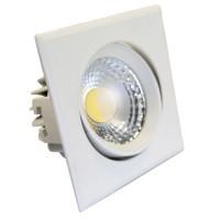 Faretto LED Cob a incasso quadrato orientabile 5W 450Lm 3000K color bianco