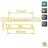 Faretto LED Cob a incasso quadrato orientabile 5W 450Lm 6400K color bianco