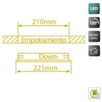 Downlight LED da incasso quadrato 30W 2700lm - in alluminio bianco, 4200K Luce naturale