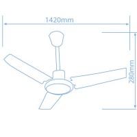 Ventilatore da soffitto industriale con 3 pale metalliche e regolatore da parete